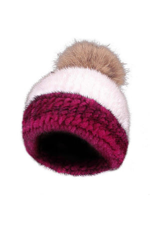 Scarlet and White Mink Hat