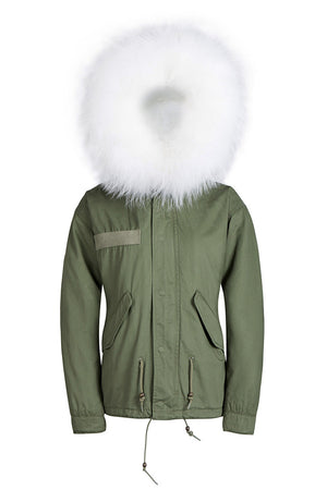 Raccoon White fur trim with Faux Fur Lined Parka - Short Parka
