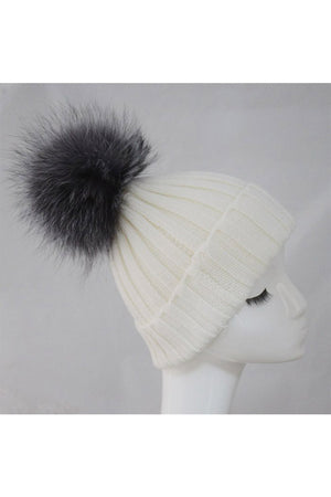 White Knitted Hat with Silver Pom