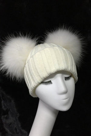 White Double Pom Hat