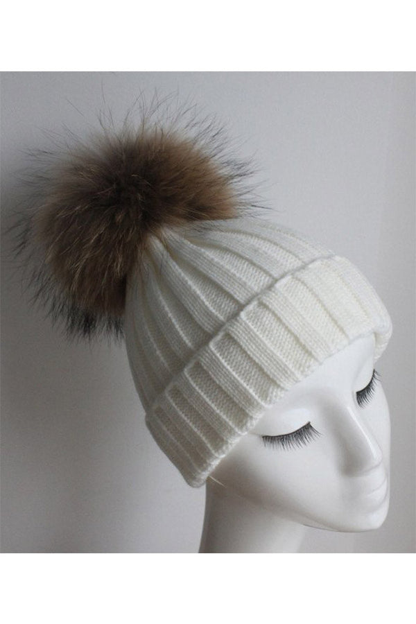 White Knitted Hat with Raccoon Pom