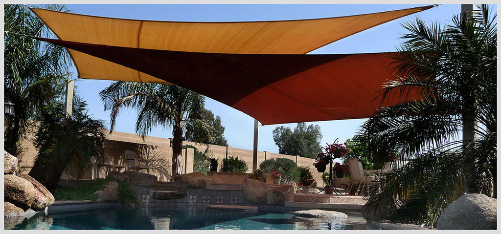 Two Large Shade Sails over Pool