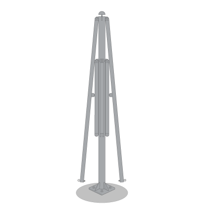 Upper umbrella arms attached
