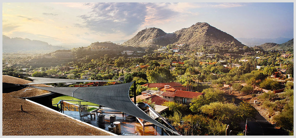Black triangle shade sails overlooking Paradise Valley