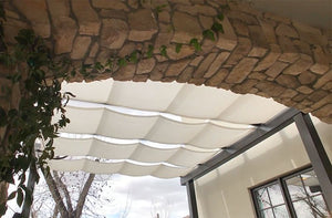 Roman Shades Over Patio Entryway