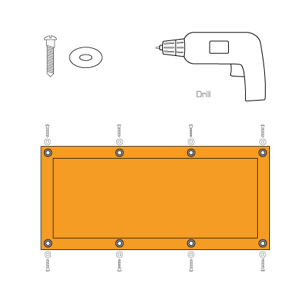 Shade panel with screws and drill