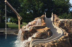 Swimming Pool Rope Swing and Waterslide