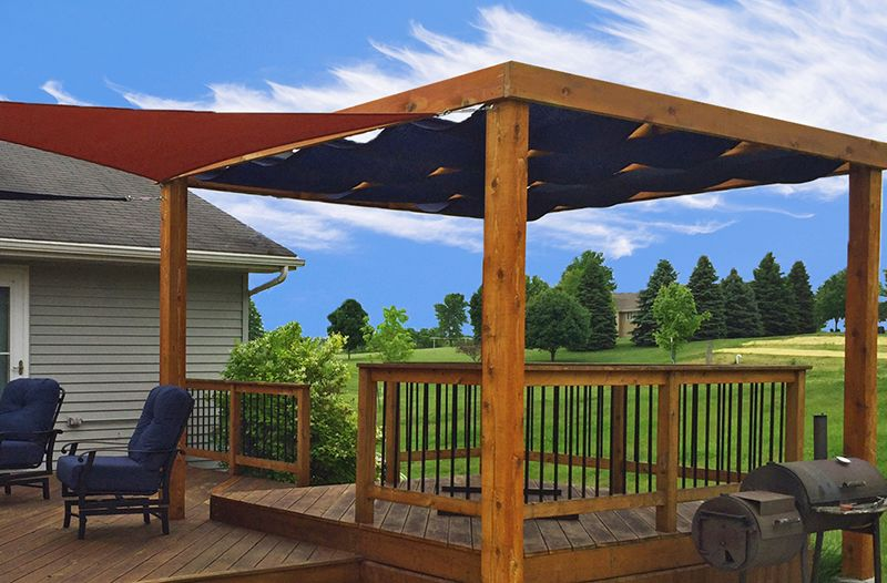 Custom Roman Shades Over Wood Deck