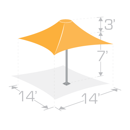 14x14 Permanent Shade Umbrella