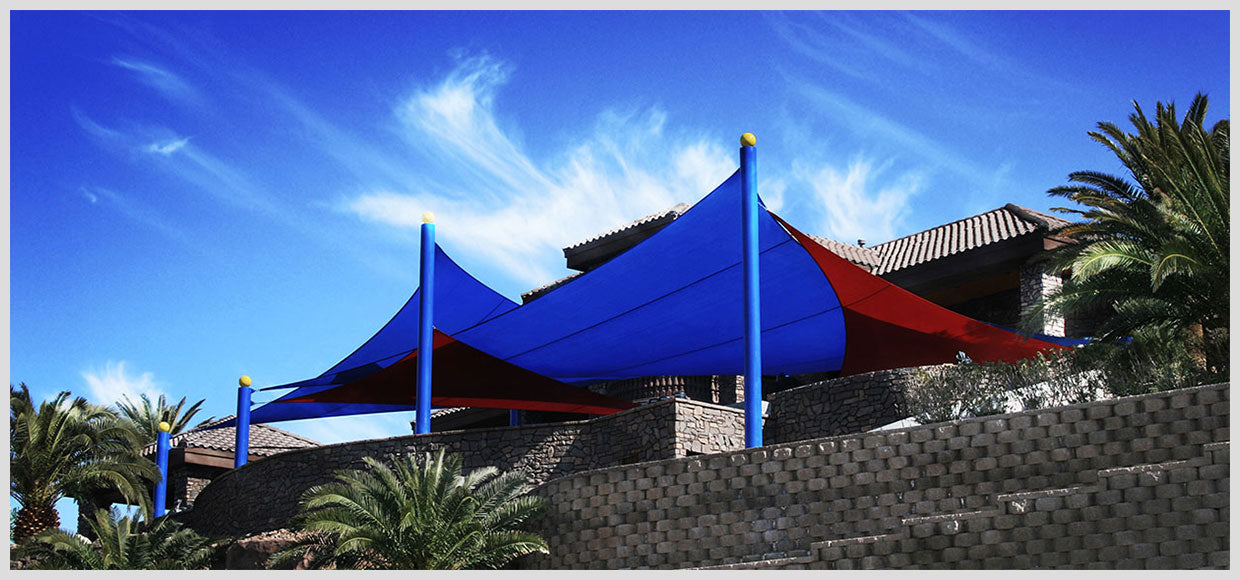 Large red and blue custom shade sails in Las Vegas, NV