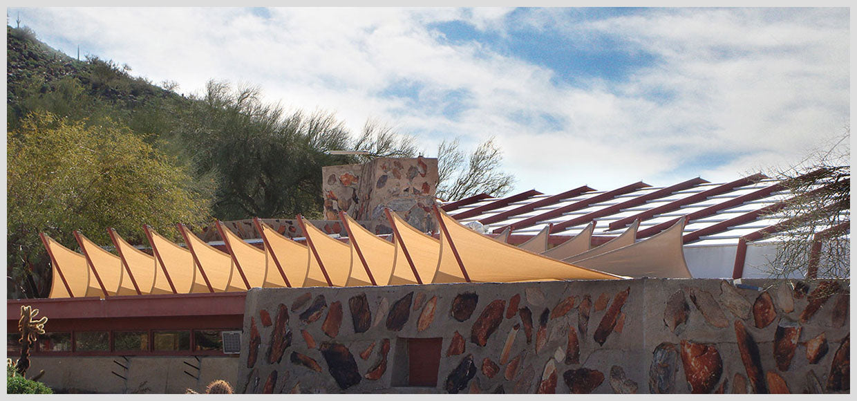 Khaki shade sails at Taliesin West in Scottsdale, AZ