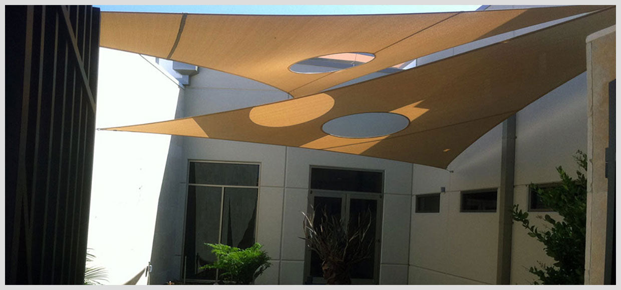 Shade sails with creative holed design