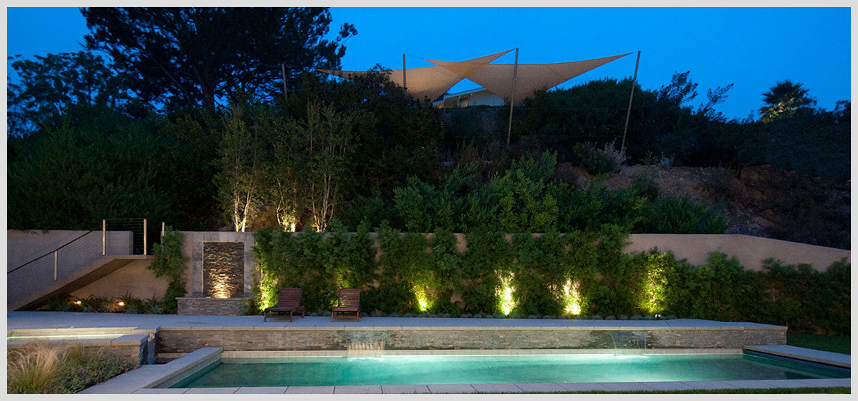 Shade sails above private pool in Los Angeles, CA