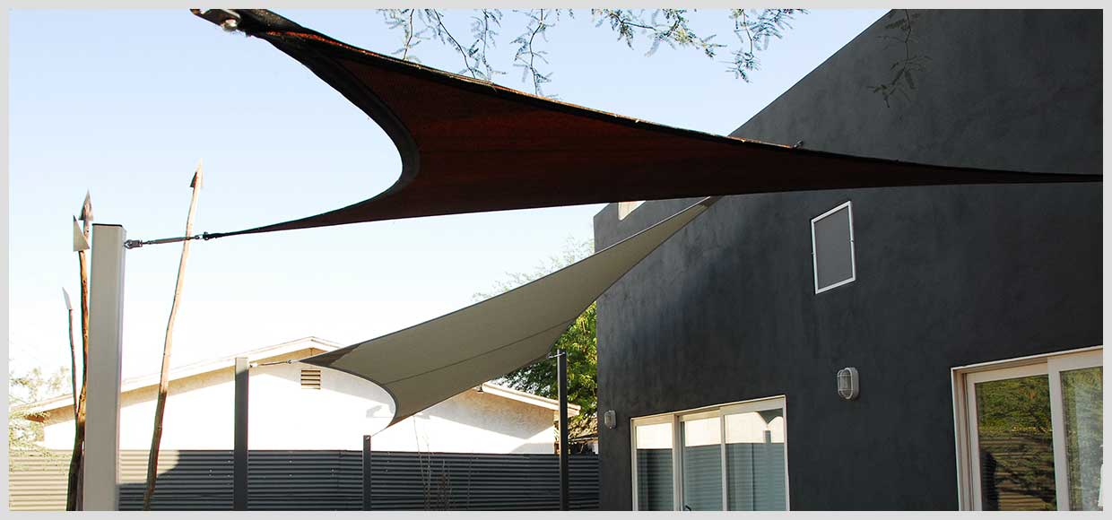 Shade sails over patio in Phoenix, AZ