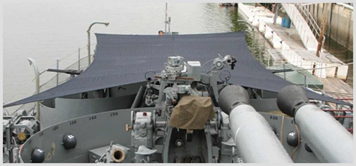 Shade sail on a destroyer in Albany, NY