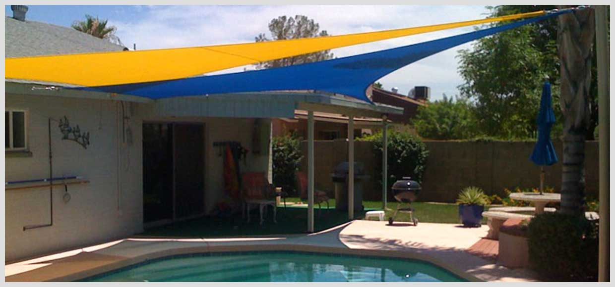 Triangle shade sails over pool in Mesa, AZ