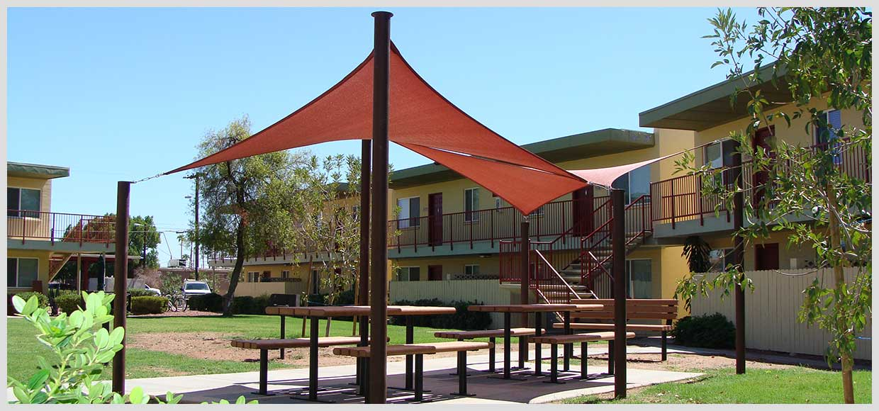 Shade sails over picnic tables in Scottsdale, AZ
