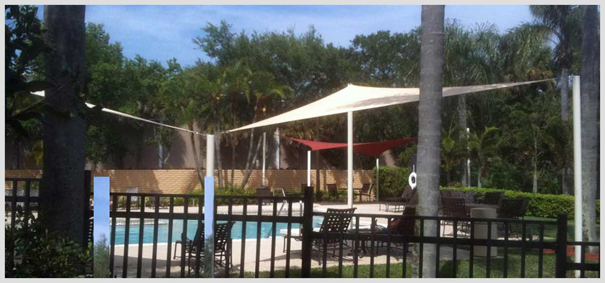Poolside shade sails in Alexandria, FL