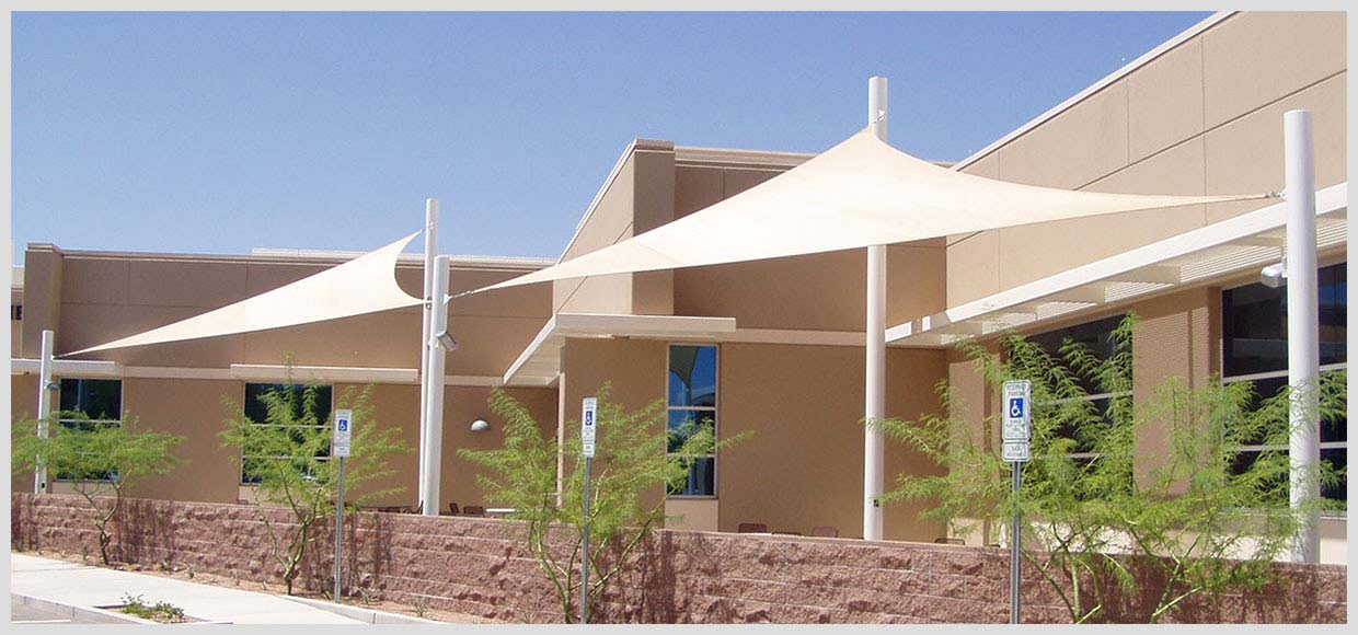 White shade sails at Texas Instruments Office in Tuscon, AZ
