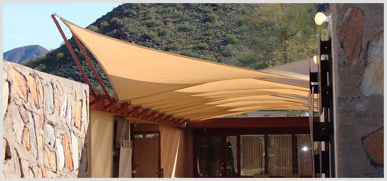 Row of shade sails at the Taliesin Library in Scottsdale, AZ
