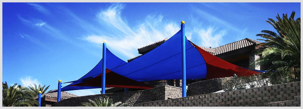 Large commercial shade sails in residential backyard in Las Vegas, NV
