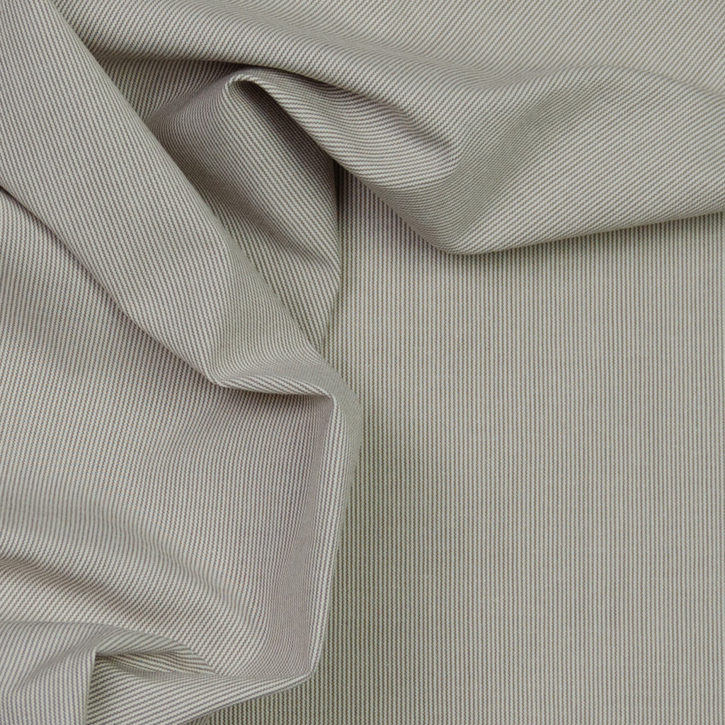 Adelaide Ecru Brown Striped Stretch Cotton
