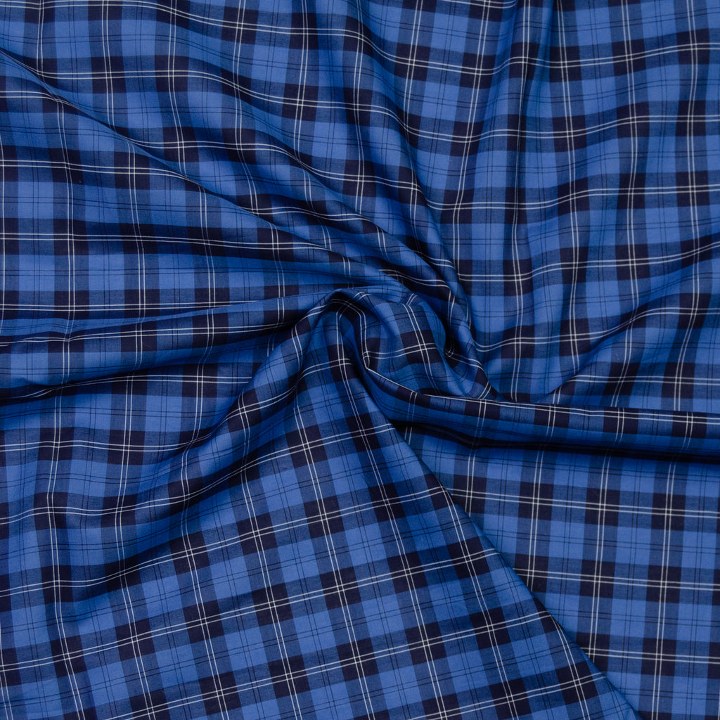 Abbas Navy & Blue Plaid Cotton