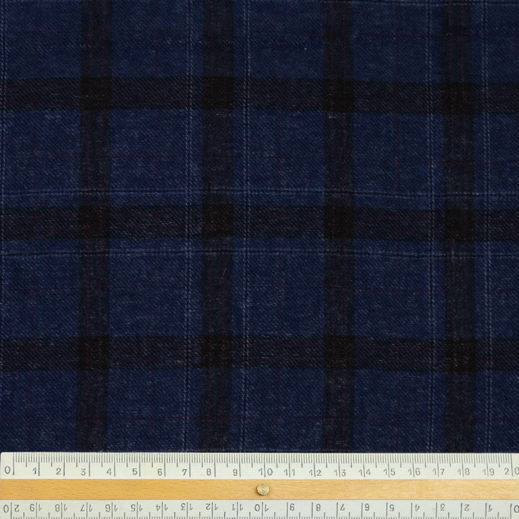 Evelyn Navy and Black Tartan Wool