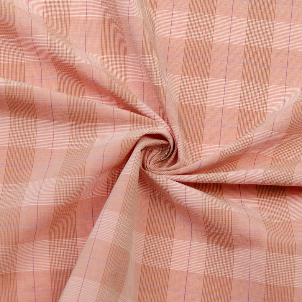 Aira Peach Cotton Plaid