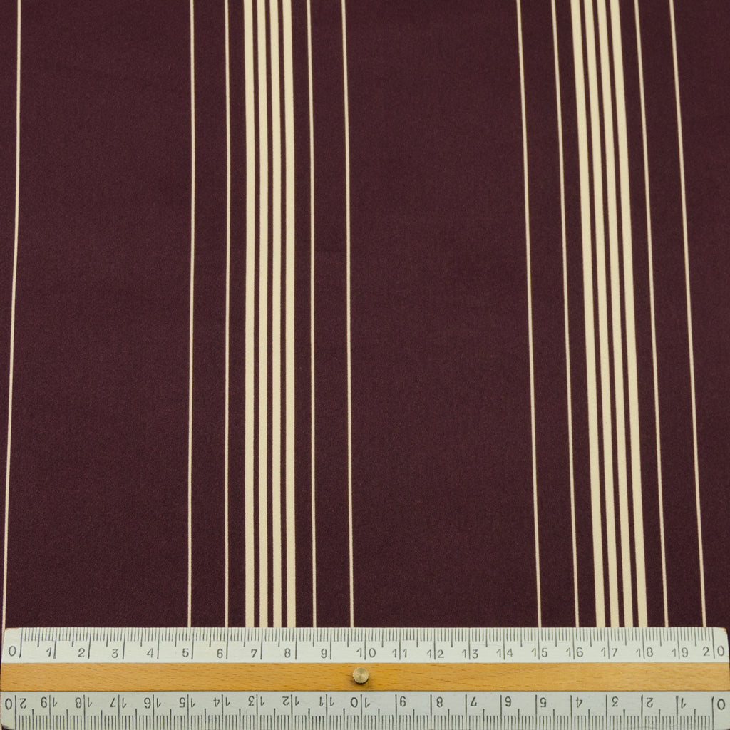 Alston Burgundy Cream Stripe Silk Satin