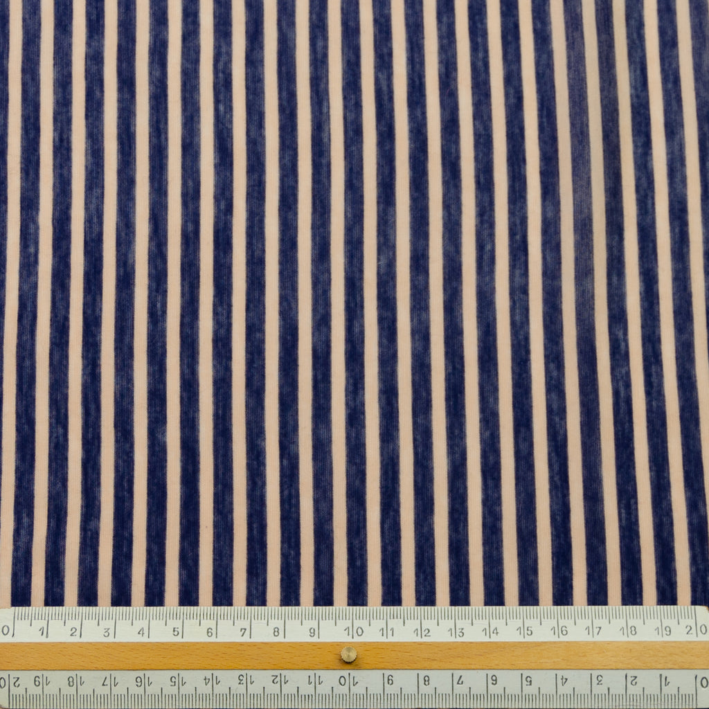 Adonica Blue Coral Stripe Cotton Jersey