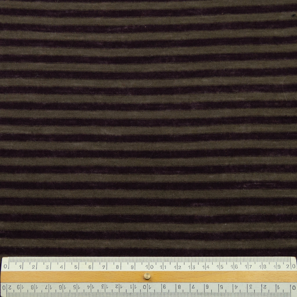 Aleron Burgundy Brown Stripe Wool Jersey