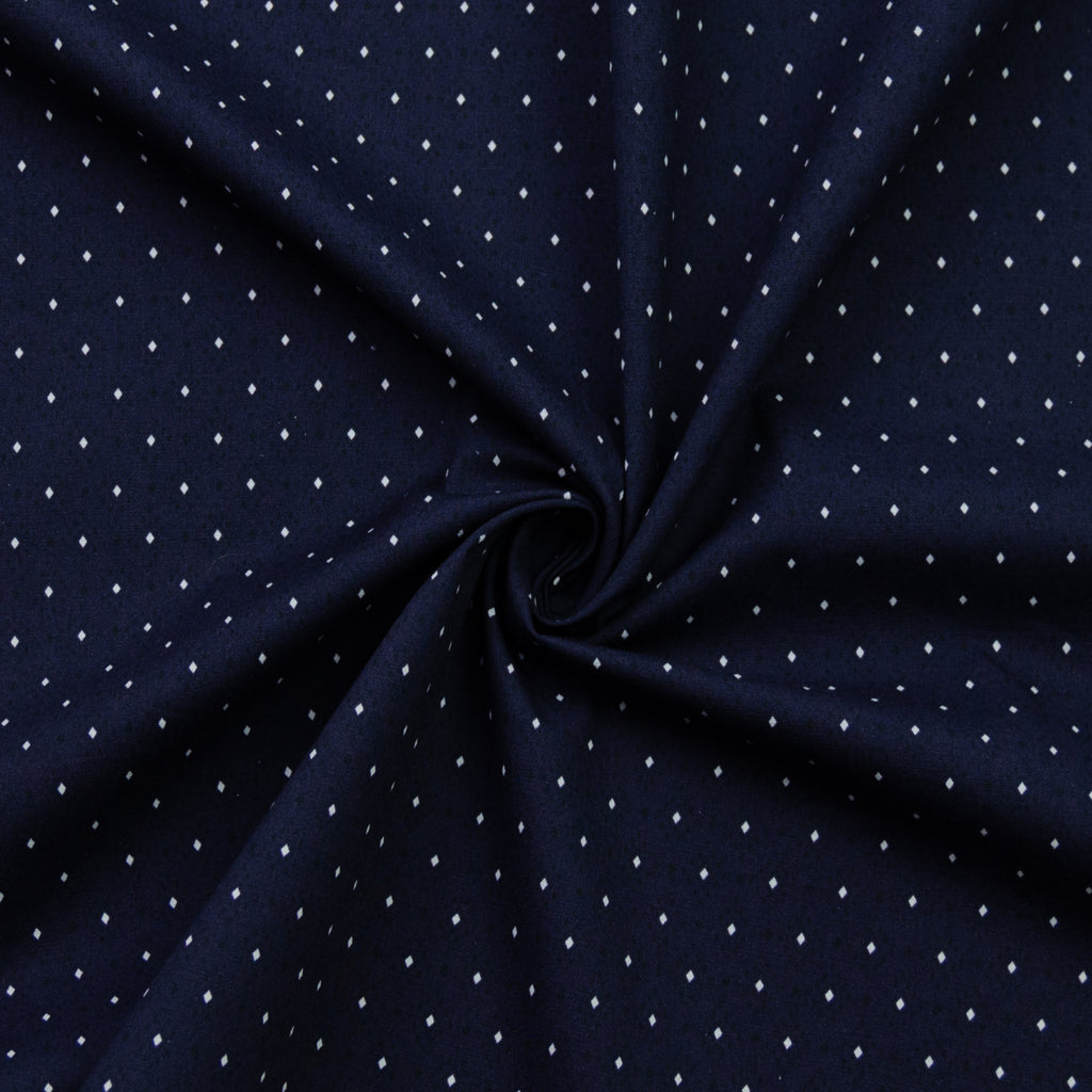 Akoni Navy Blue Printed Cotton Poplin