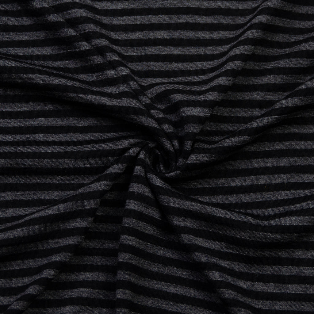 Aelia Dark Grey Black Stripe Wool Jersey