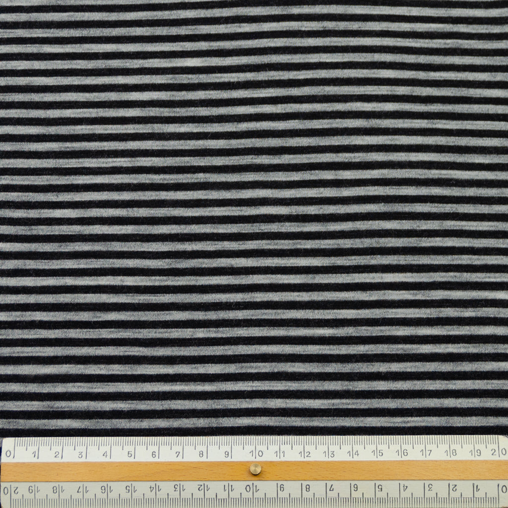 Adria Grey Black Stripe Wool Jersey