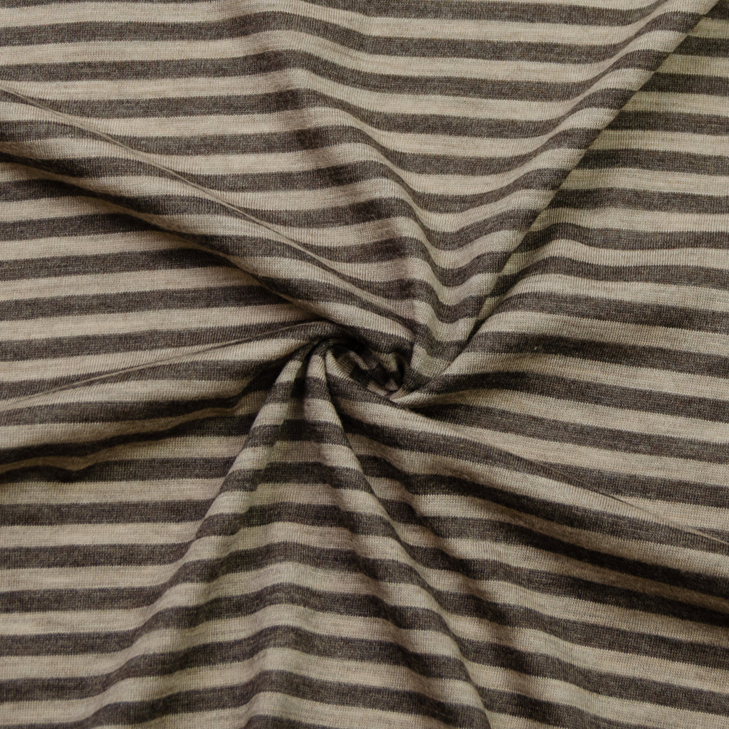 Abel Brown Beige Stripe Wool Jersey