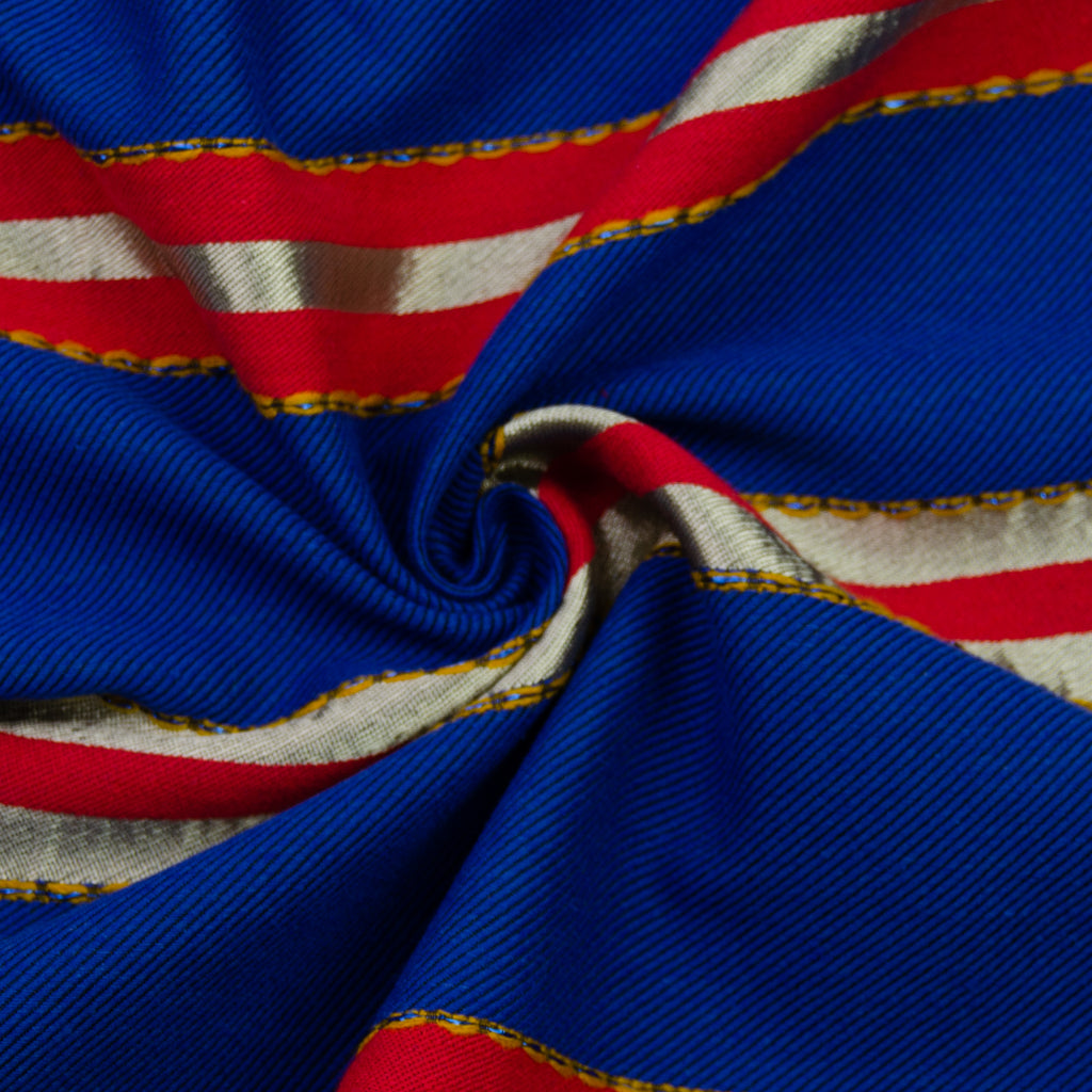Damond Blue Striped Cotton Blend