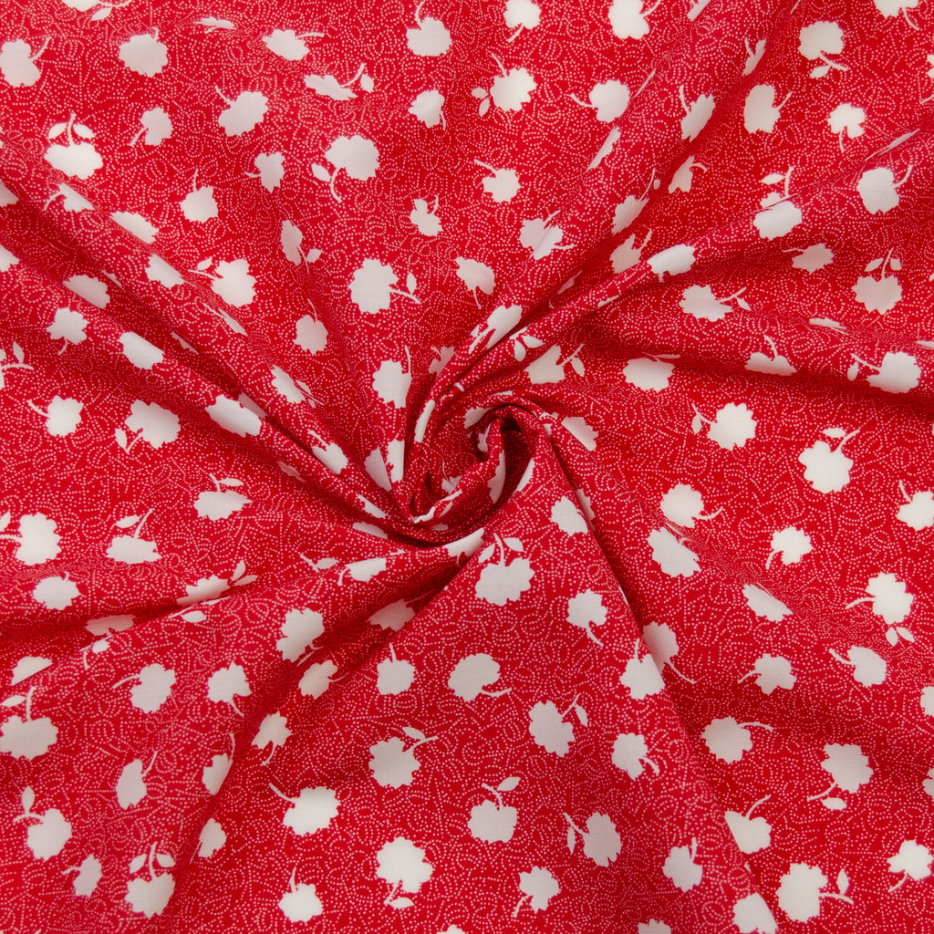 Dale Red Floral Print Polyester