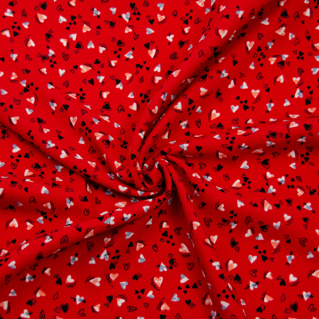 Dally Red Hart Print Polyester