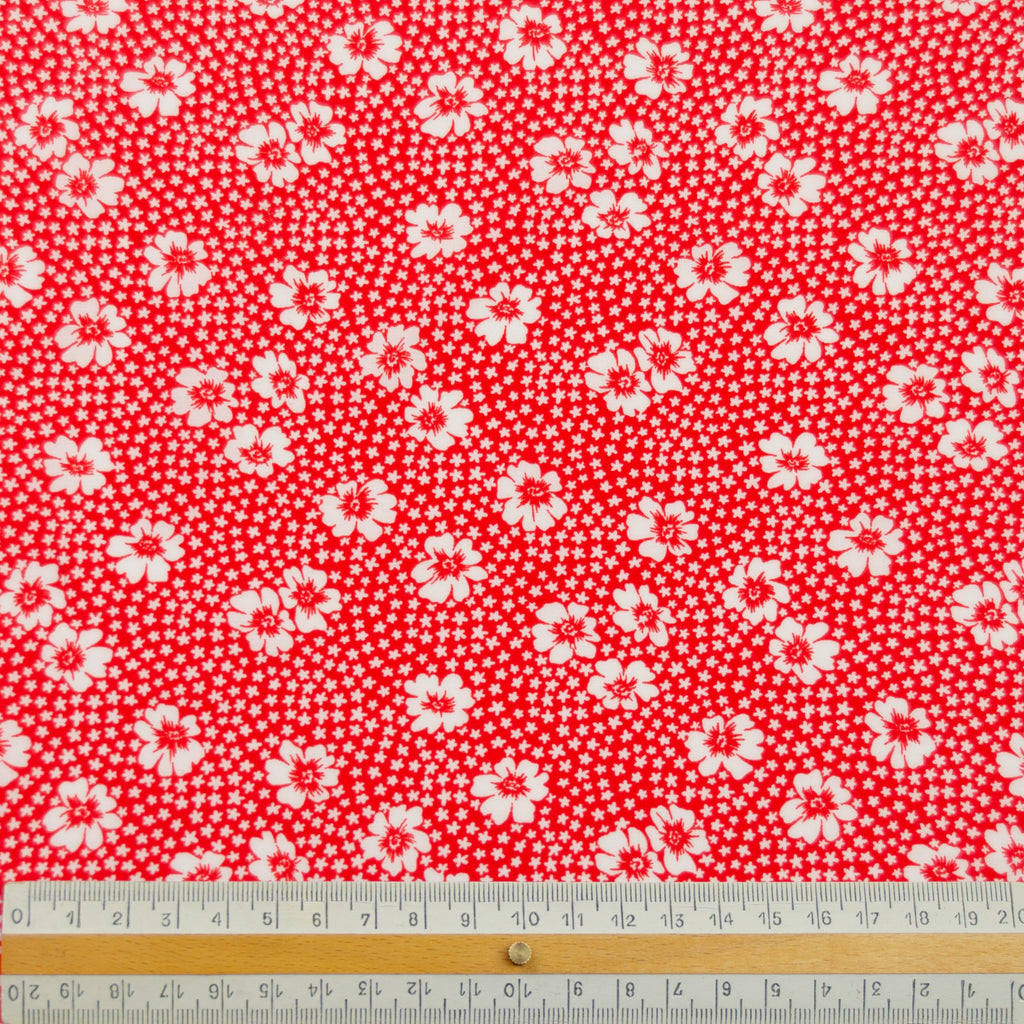 Dalida Red & White Floral Polyester