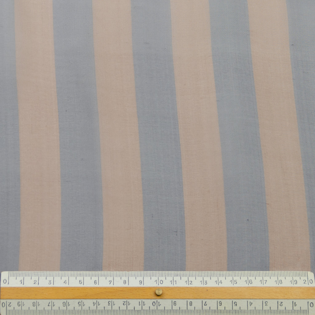 Gabriel Blue Brown Striped Silk Voile