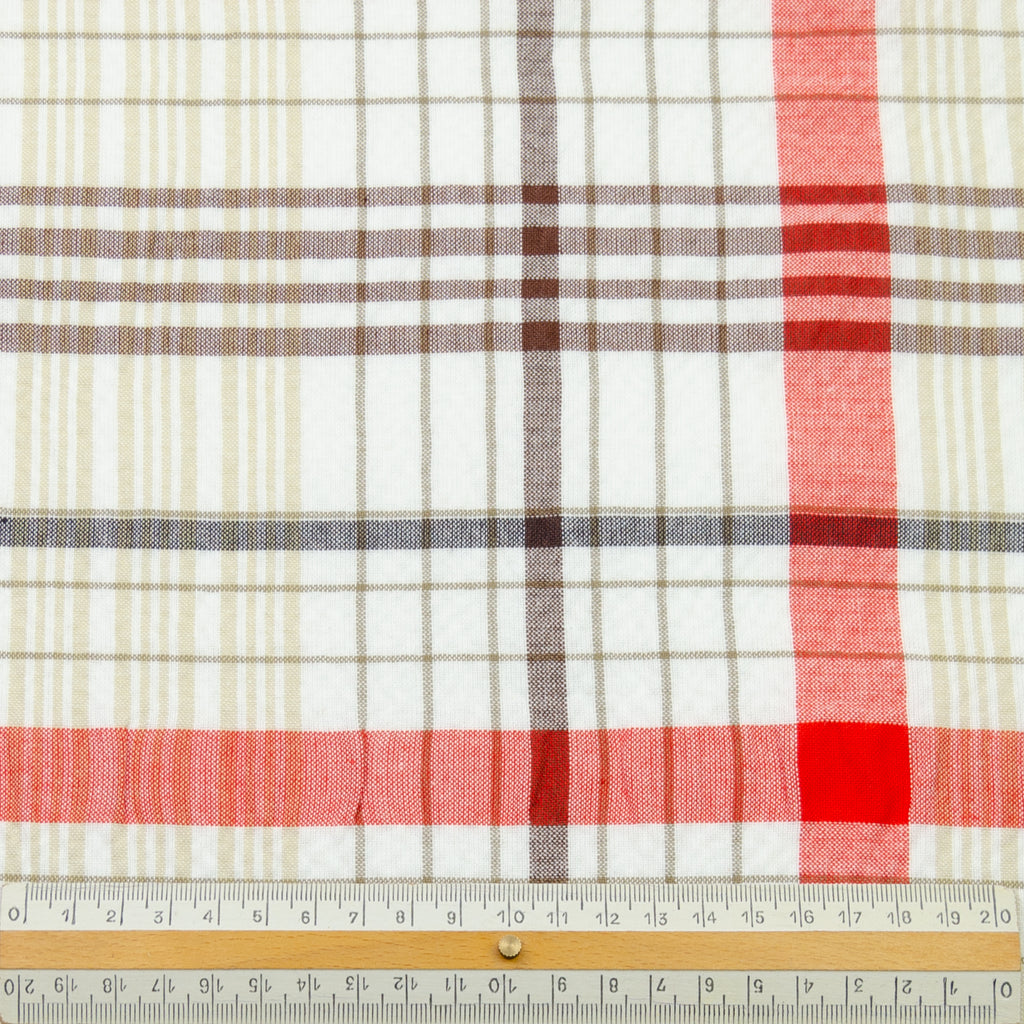 Wade Vermillion & Brown Tone Plaid Seersucker Cotton
