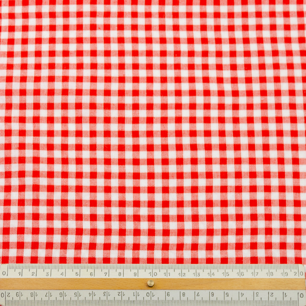 Wafi Berry Red Vichy Seersucker Cotton