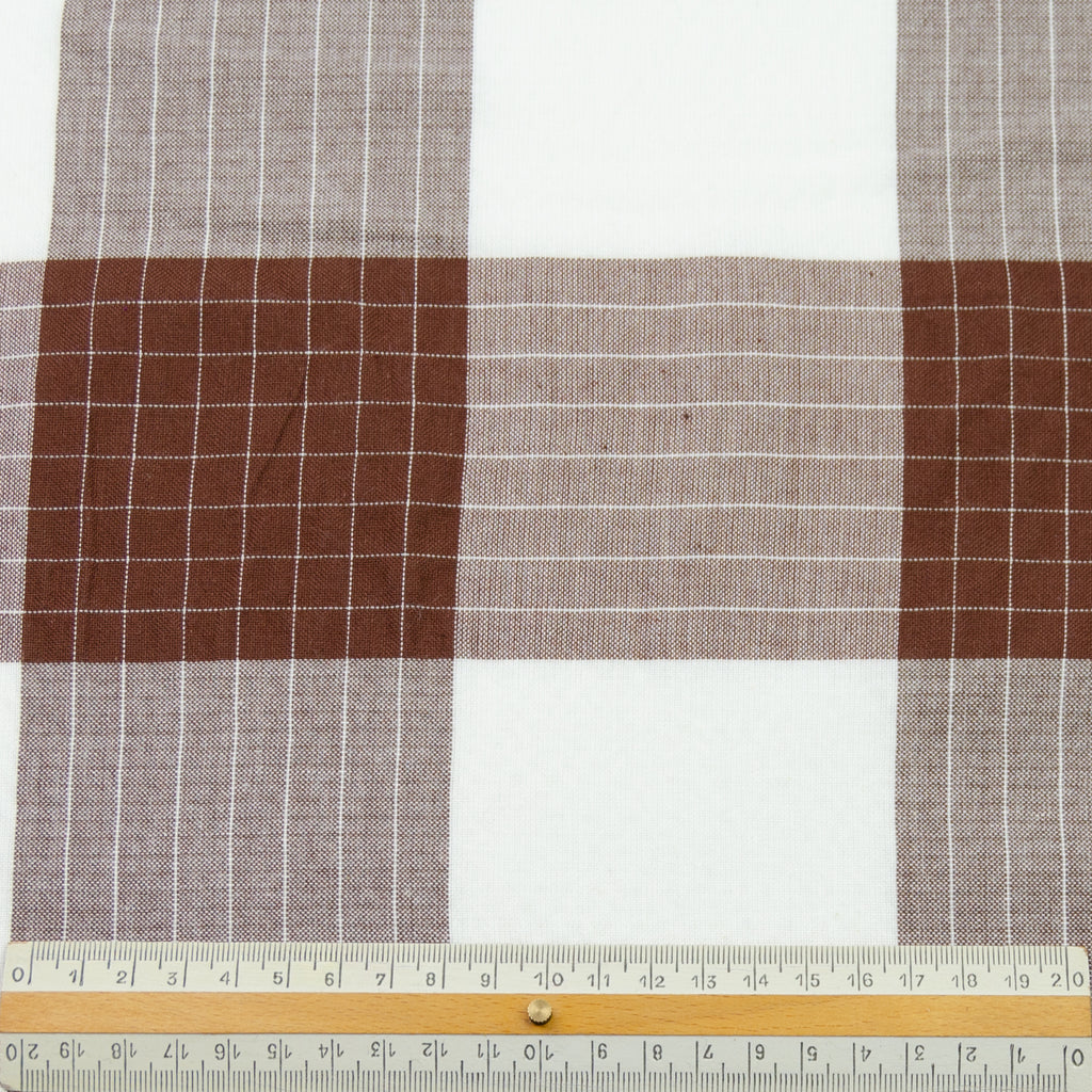 Ronald Nut Brown & White Check Cotton