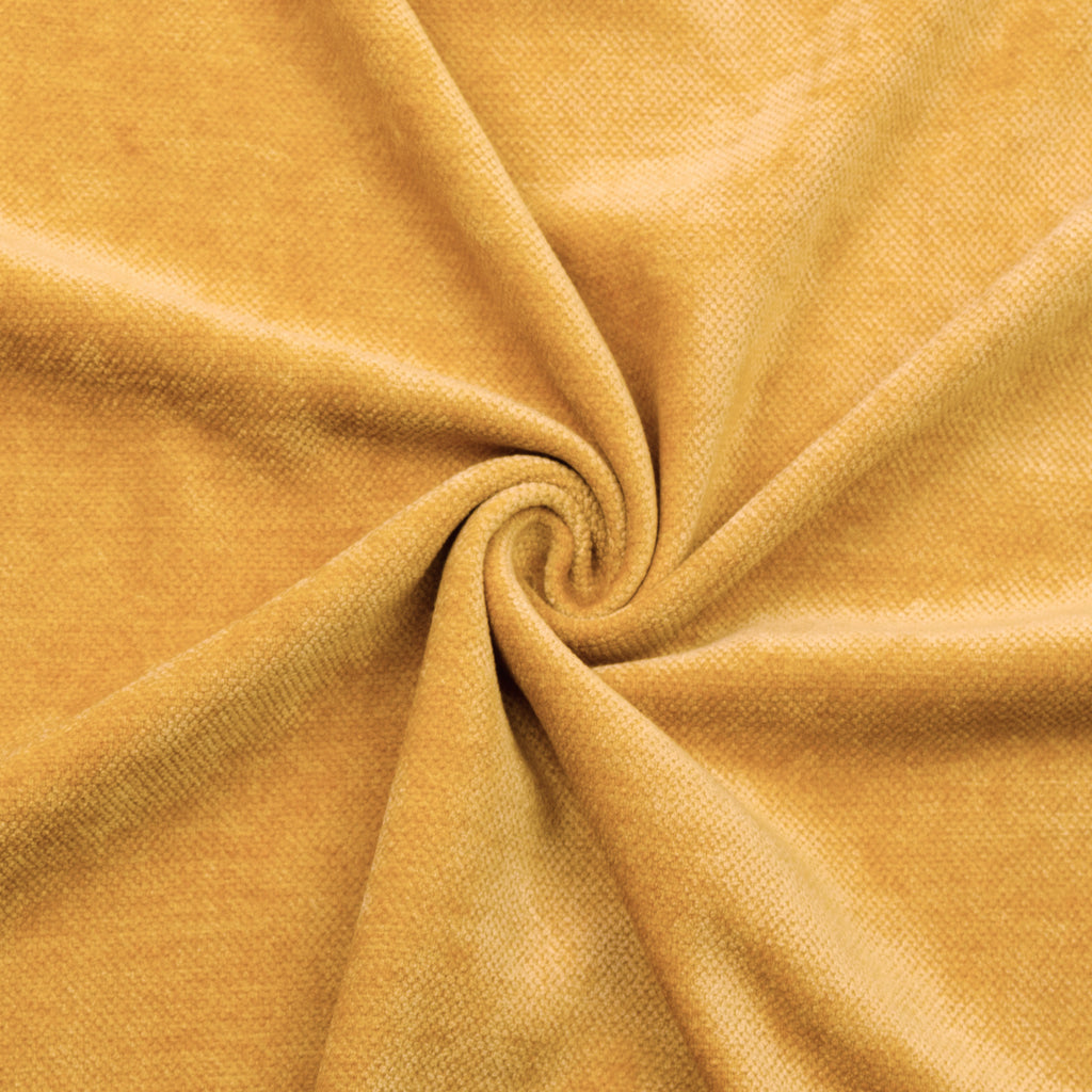 Caitlin Yellow Textured Velvet Polycotton