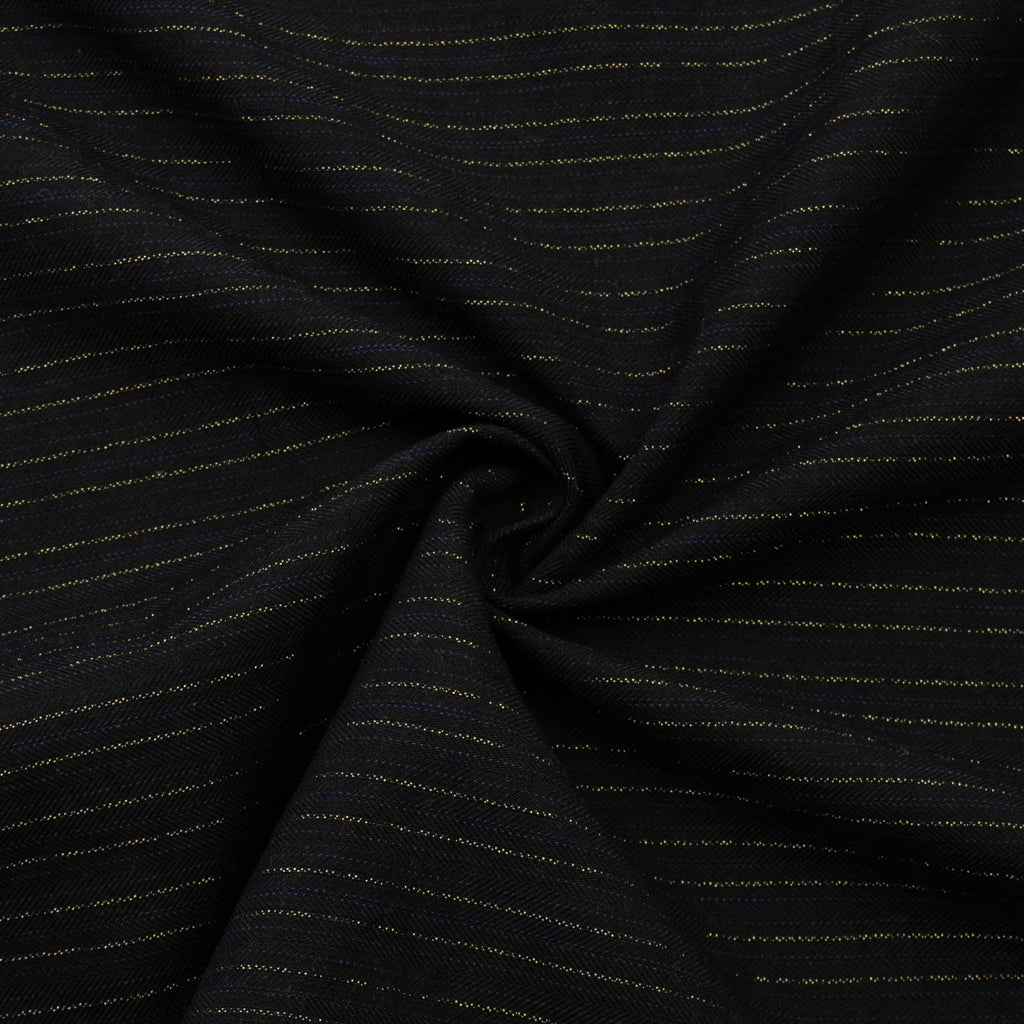 Tama Black Striped Cotton Linen Herringbone