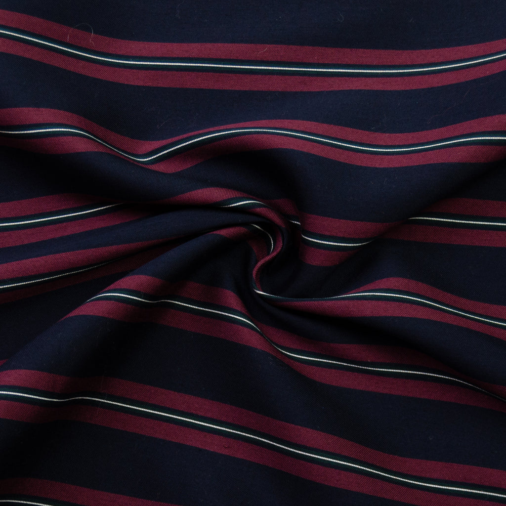 Damon Blue Burgundy Striped Cotton Blend