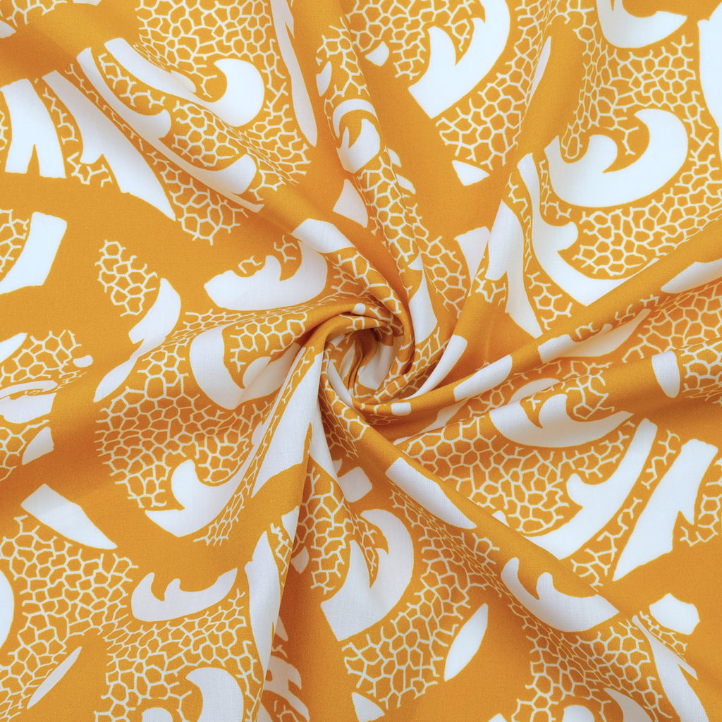 Peinter Yellow White Printed Cotton Poplin