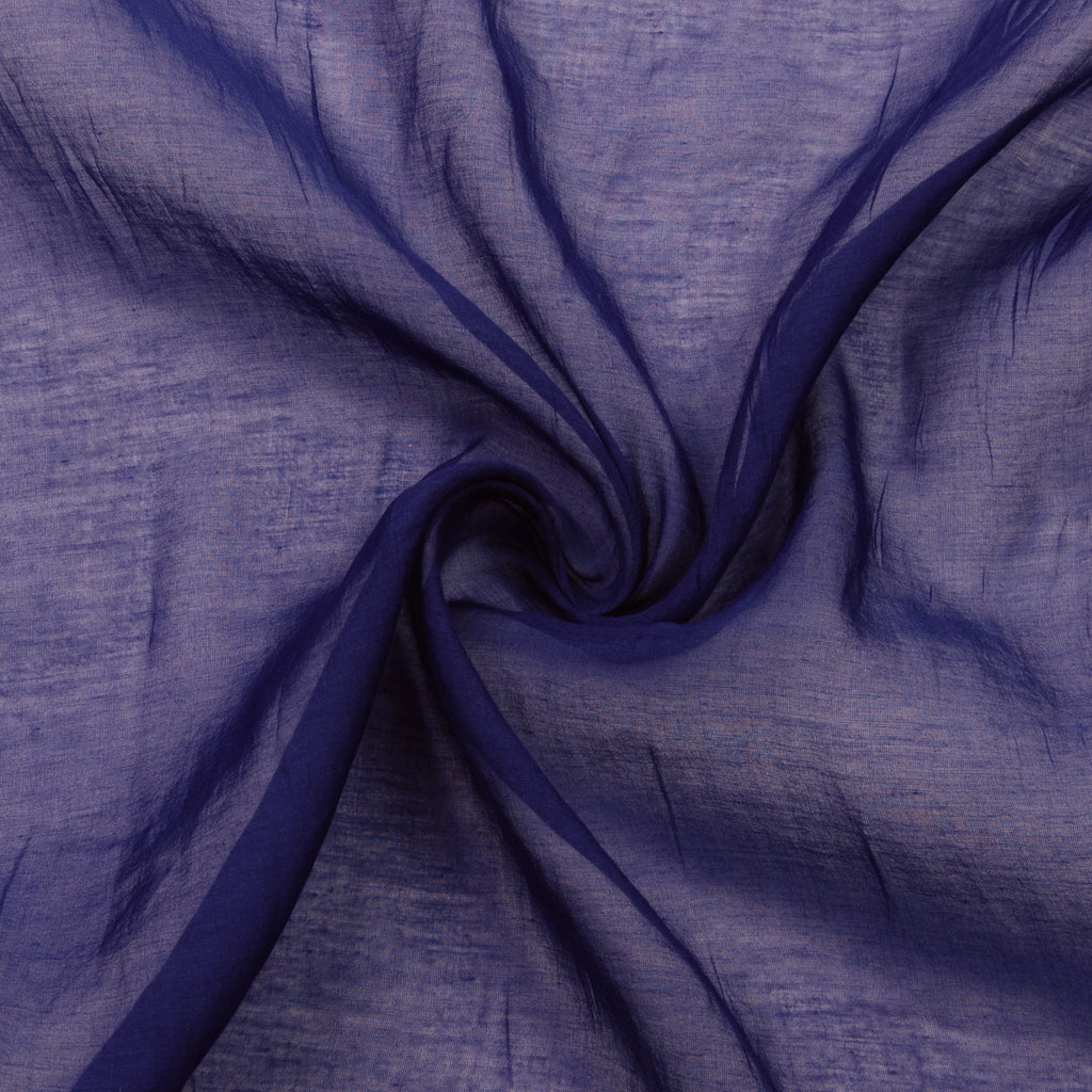 Pauric Blue Voile Cotton Silk Blend