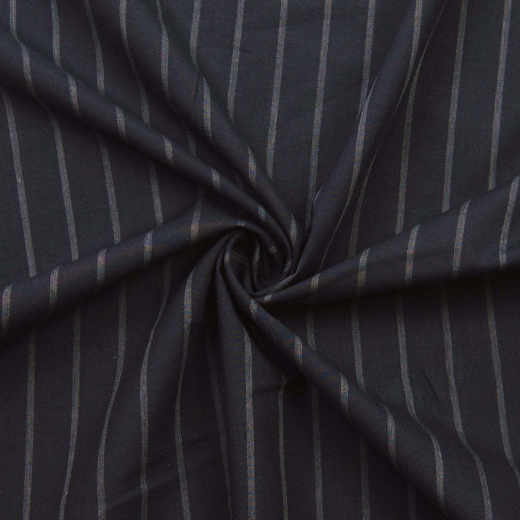 Philando Dark Blue Striped Cotton Poplin